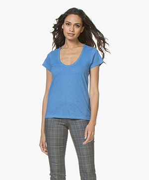 Rag & Bone Katoenen U-hals T-shirt - Marina Blauw