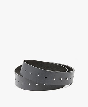 Filippa K Perforated Reversible Leren Riem - Navy/Zwart