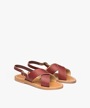 K. Jacques St. Tropez Osorno Leather Sandals - Burgundy