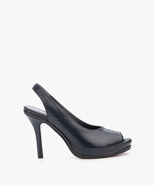 Panara Leather Slingback Pumps - Dark Blue