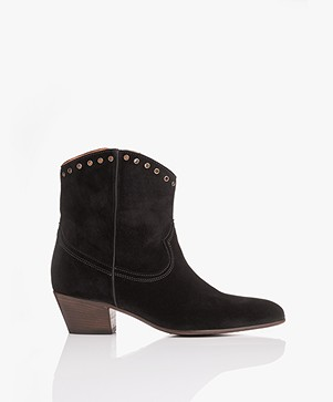 Closed Cowboy Suede Ankle Boots - Black