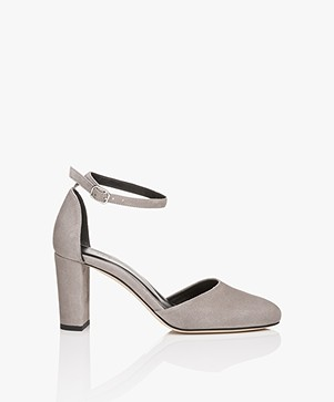 Filippa K Lauren Suede Sandals with Heels - Dark Stone