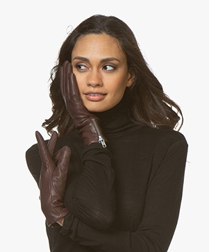 Filippa K Zip Leather Gloves - Bordeaux
