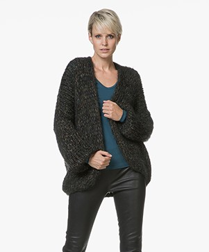 Kiro By Kim Chunky Knit Mohair Blend Cardigan - Green/Black