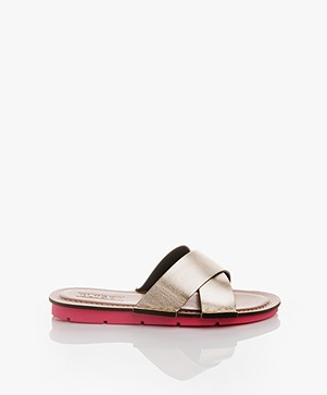 Closed Metallic Leren Slippers - Silver Gold