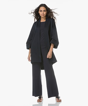 no man's land French Terry Oversized Open Cardigan - Dark Saphire