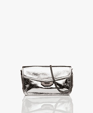 Rag & Bone Field Shoulder Bag/Clutch - Silver Crackle