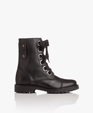 Zadig & Voltaire Joe Leather Lace-up Boots - Black