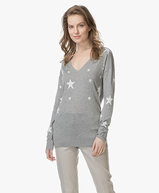 Baukjen Loxley Intarsia Star Print Sweater - Grey/Off-white
