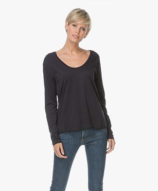 Filippa K Scoop Neck Long Sleeve Top - Navy