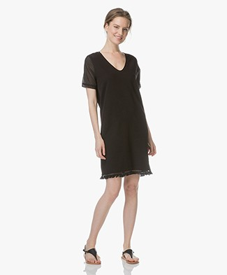 BRAEZ Swat French Terry Dress with Woven Sleeves - Black