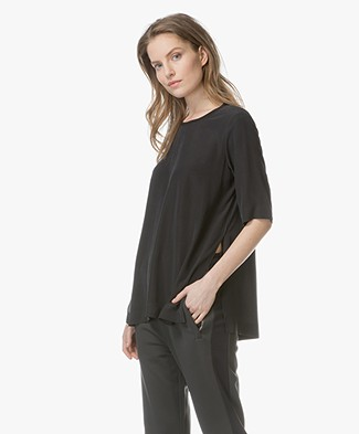 Joseph Miro Silk Blouse with Half Sleeves - Black