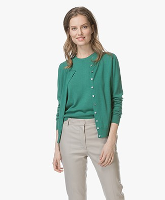 Repeat Classic Short Cotton Blend Cardigan - Green