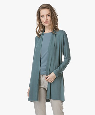 no man's land Half Long Jersey Open Cardigan - Eucalyptus