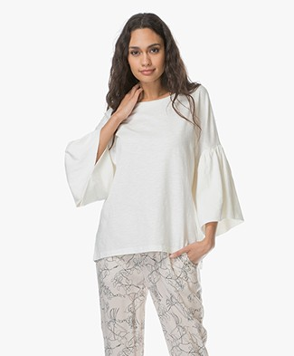 Closed Top with Frilled Sleeves - Ivory