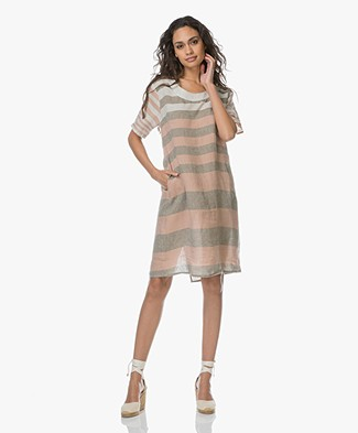 LaSalle Linen Striped Dress - Rose/ Sand
