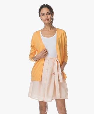 Marie Sixtine Alix Cotton Blend V-neck Cardigan - Golden