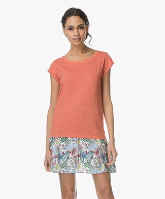 Marie Sixtine Demetrie Organic Cotton T-shirt with Lace-up Detail - Terracotta