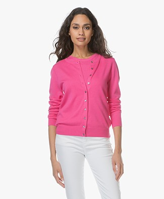 Repeat Classic Short Cotton Blend Cardigan - Magenta