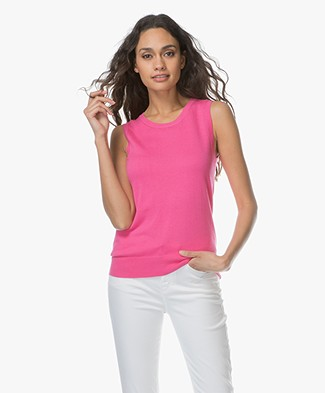 Repeat Sleeveless Cotton Blend Pullover - Magenta