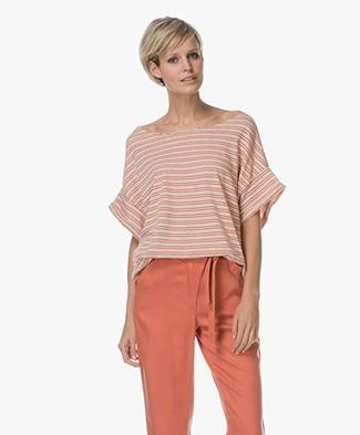 American Vintage Mumymoon Gestreept French Terry T-shirt - Lichtgrijs/Oranje