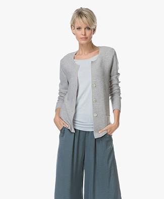 Belluna Branca Cotton Blend Knitted Cardigan - Grey Melane