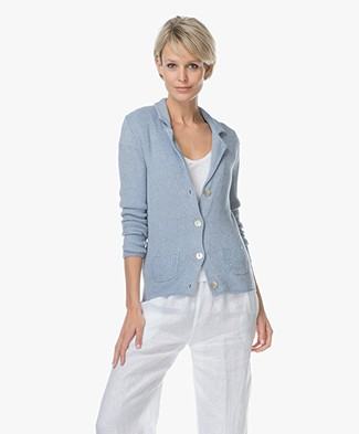 Belluna Fresco Pique Knitted Blazer - Light Blue
