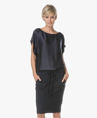 Drykorn Somia Cupro Blouse - Donkerblauw