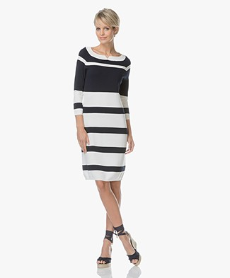 Josephine & Co Louise Knitted Stripe Dress - White/Navy