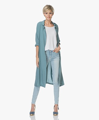 Marie Sixtine Dodo Long Wrap Blouse in Viscose - Thyme