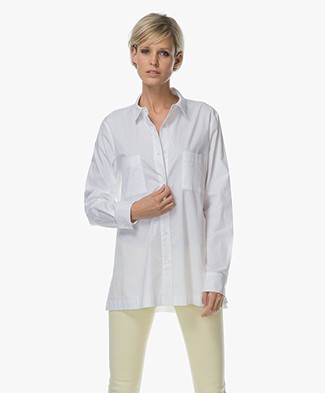 Repeat Cotton Blouse with Side Slits - White