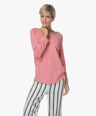 Repeat Round Neck Pullover in Cotton Blend - Coral