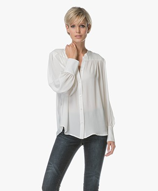 Repeat Silk Crepe Blouse - Cream