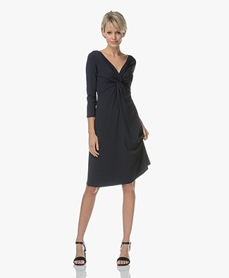 no man's land Crepe Jersey Knot Detail Dress - Dark Saphire