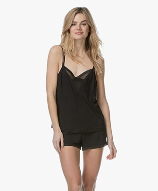 Calvin Klein Jersey and Mesh Camisole - Black