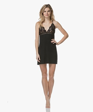 Calvin Klein Jersey and Lace Chemise - Black