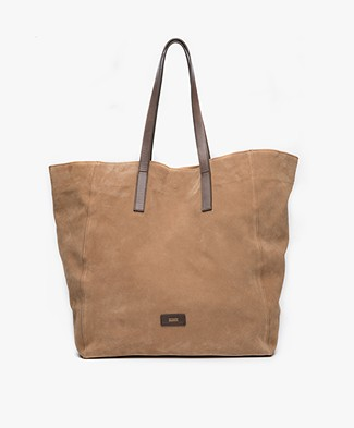 Closed Raw Edge Suede Tote - Dune