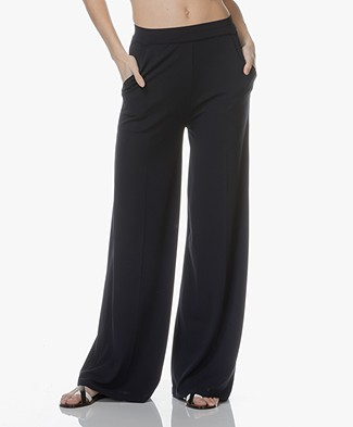 LaSalle Italian Jersey Wide Leg Pants - Dark Blue