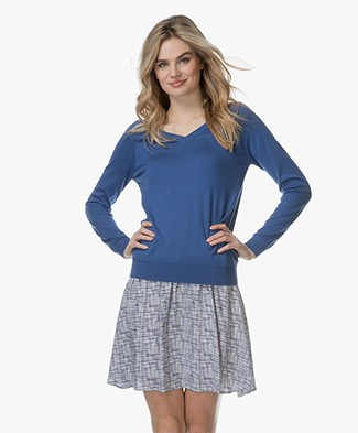 Marie Sixtine Andy V-neck Pullover with Silk - Lake