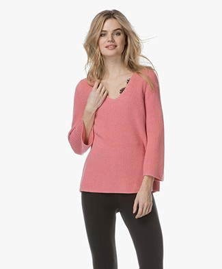 Repeat Cotton A-line Pullover - Coral
