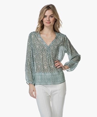 Repeat Viscose Print Blouse - Ethno Groen