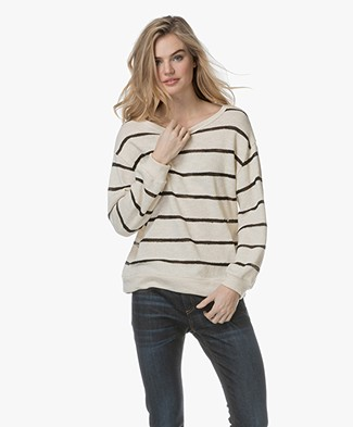 LEÏ  1984 Thea Striped Cotton Sweater - Ecru/Black