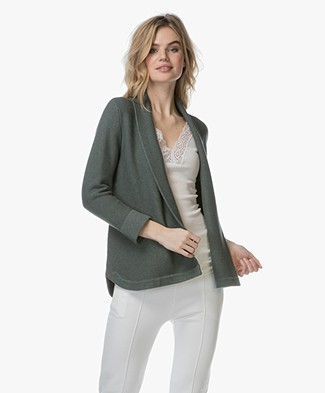 Repeat Open Shawl Collar Cardigan in Cotton - Khaki