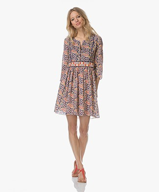 Ba&sh Rius A-line Dress with Print - Blue/Multicolored
