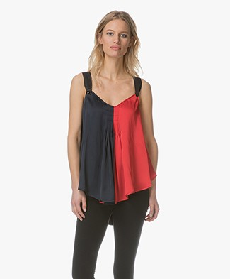 By Malene Birger Willyh Two-Tone Satin Top - Bright Red