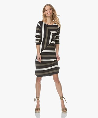 Denham Stealth Graphic Dress - Green Stripe
