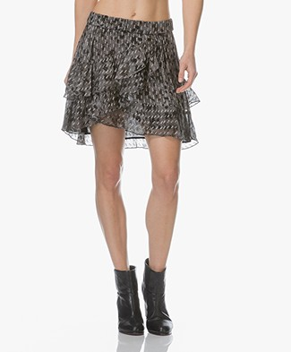 IRO Celie Mini-rok met Volants - Charcoal