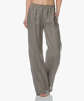 LaSalle Linen Wide Leg Pants - Khaki Green