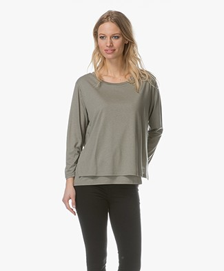 Repeat Double-layered T-shirt with Tie Closure - Light Khaki