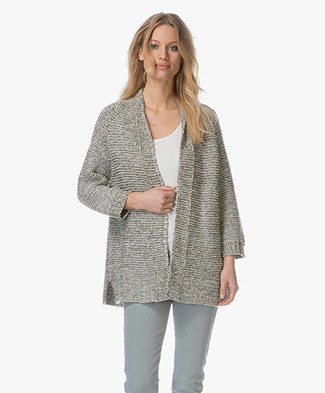 Repeat Open Cardigan with Lurex Yarns - Khaki/Multicolored